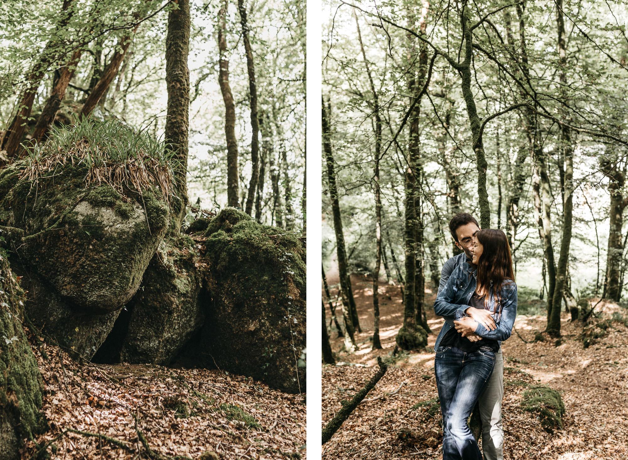 Seance couple en foret dans le finistere, Bretagne - Warren Lecart